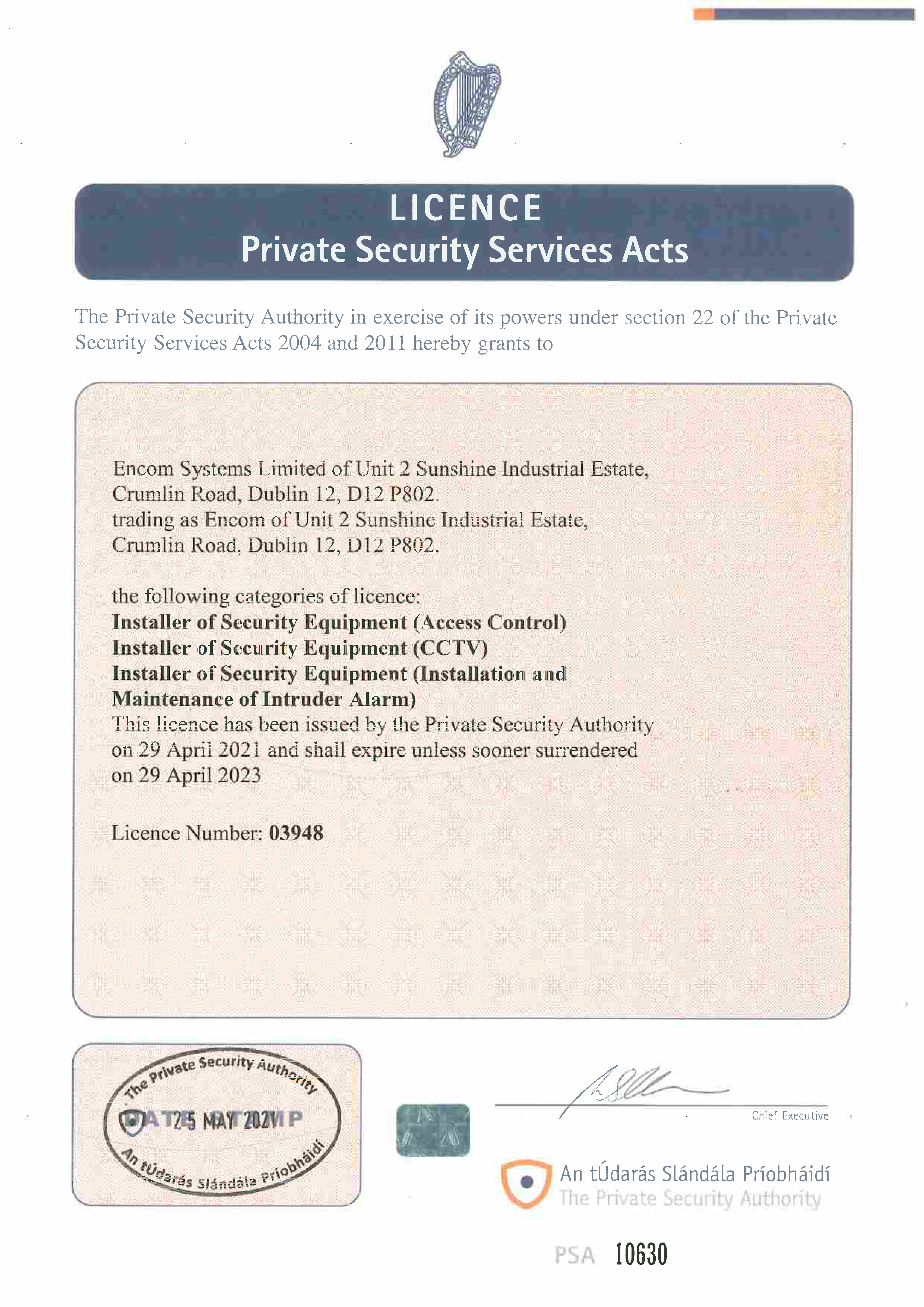 Click here to view Encom PSA Certificate